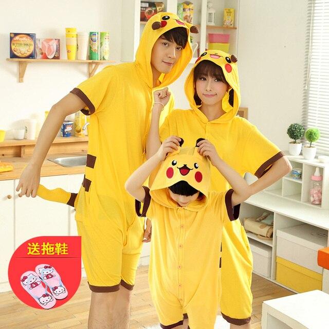 60a5853f2 Familia pijamas traje mamá madre e hija ropa de pijama unicornio pijamas  onesie Pikachu Pijamas