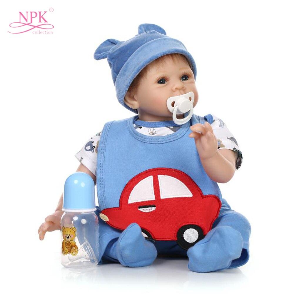 NPK 21 дюйм силиконовые Reborn Одежда для кукол Материал тела реалистичные для маленьких мальчиков новорожденных кукла рождественский подарок П