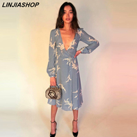 Elegant boho blue dresses women lantern sleeve sashes v neck holiday beach print dress girls pregnant clothes new arrivals 2019