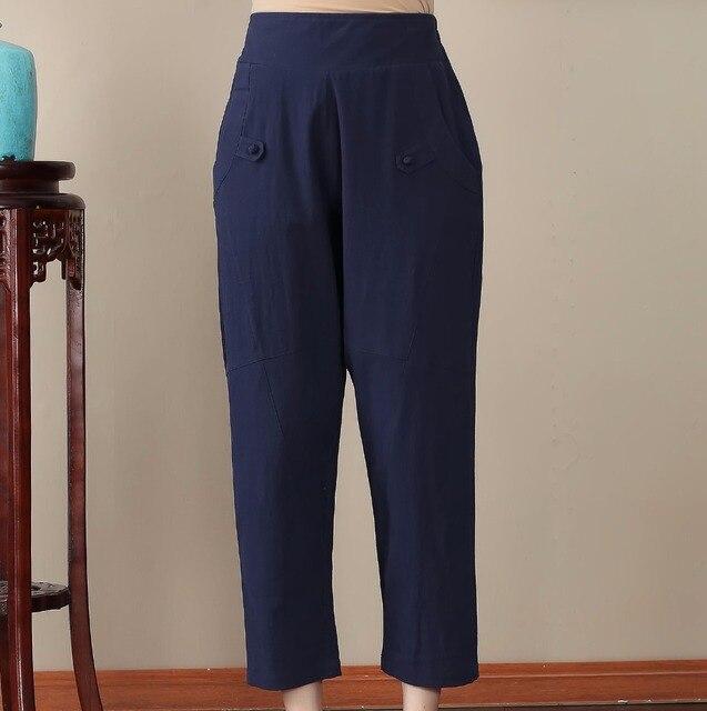 2df7bcd751b Navy Blue Chinese Style Women Leisure Trousers Plus Size 3XL 4XL Cotton Linen  Pant Loose Casual Elastic Waist Harem Pants 2705