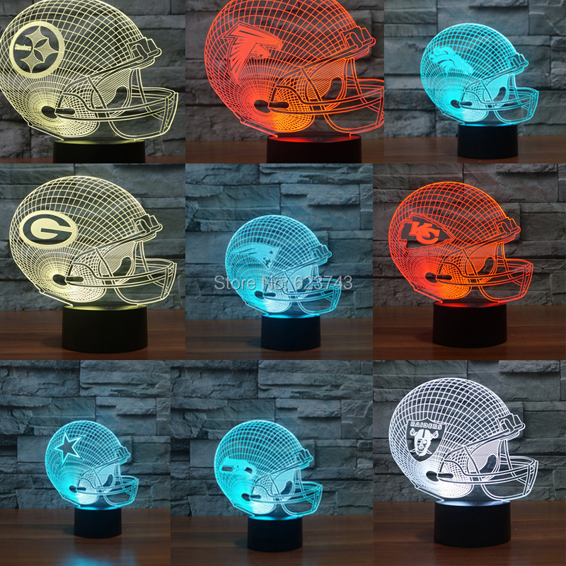 American Football cap helmet 3D LED Color Changing night light of All NFL Clubs by Touch induction control and AAA