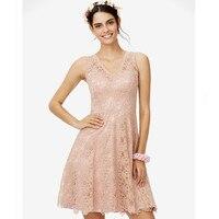 LAN TING BRIDE Chiffon Lace Bridesmaid Dress A Line V Neck Sleeveless Short Wedding Party Prom