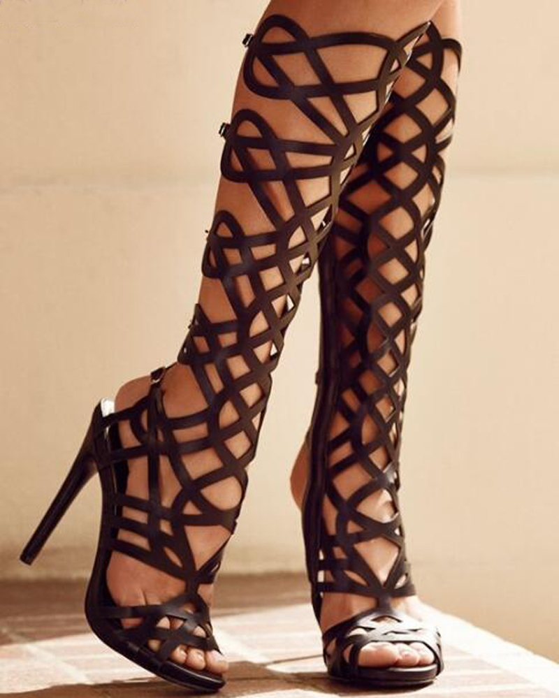 2017Summer New Fashion Sexy Women Black Hollow pattern Thigh High Boots Cut-Outs Gladiator Over-the-Knee Booty Party Women Shoes 2017 summer newest hot sexy women narrow band high boots cut outs gladiator over the knee booty club boots women shoes