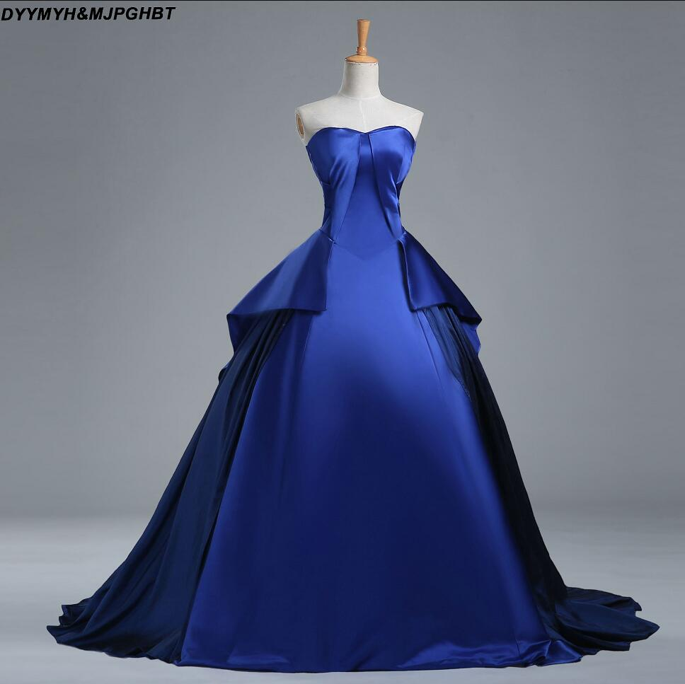 Rihanna Evening Gowns Sweetheart Royal Blue Arabic Ball Gown Long ...