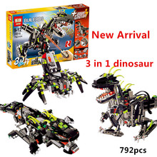 NEW LEPIN 24010 792pcs Science technology building blocks super 3 in 1 dinosaur remote control sound function anime figures toys
