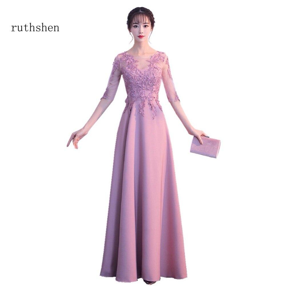 ruthshen 2018 Long   Prom     Dresses   Vestidos De Gala Largos Appliques Sexy Half Sleeves Party   Dresses   Cheap Elegant Robes De Soiree