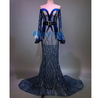 Ruffle sleeve Sequins Club Dresses Blue trailing dress Party Dress Singer stage costume Birthday dress
