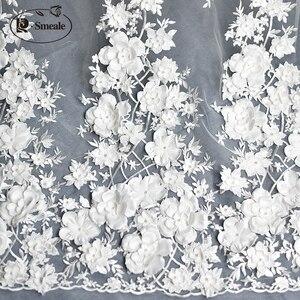 Image 4 - Elfenbein Weiß Hochzeit Kleid Spitze Stoff, 3D Chiffon Blumen Nagel satin Bead Hohe Ende Europäischen Spitze Stoff Freies Verschiffen RS583