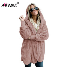 ADEWEL New 2019 Spring Women Wool Overcoat Warm Outerwear Soft Fleece Hooded Faux Fur Coat Long Sleeve Cardigan Female Outwear