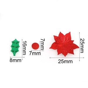 Image 2 - 15 กรัมสีผสมพลาสติกคริสต์มาสสีเขียวใบสีแดงดอกไม้ Confetti Tinfoil Sequins คริสต์มาสของขวัญตกแต่ง