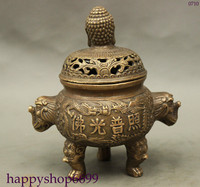 Tnukk中国民俗コレクションの古いドラゴン香炉青銅仏