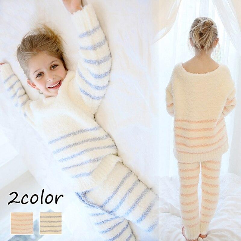Children Fleece Pajamas Set Warm Flannel Sleepwear Girls Loungewear Coral Fleece Kids pijamas Homewear Winter Pyjama 4-10Y
