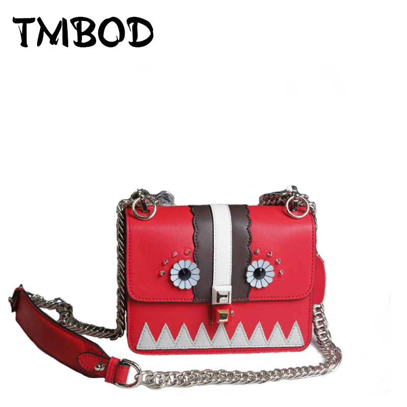 Hot 2017 Classic Monster Chains Crossbody Bag with Studs Women Split Leather Handbags Lady Bag Messenger Bag For Female an795 hot 2017 classic cute bow crossbody bag with studs women split leather handbags lady bag messenger bag for female an735