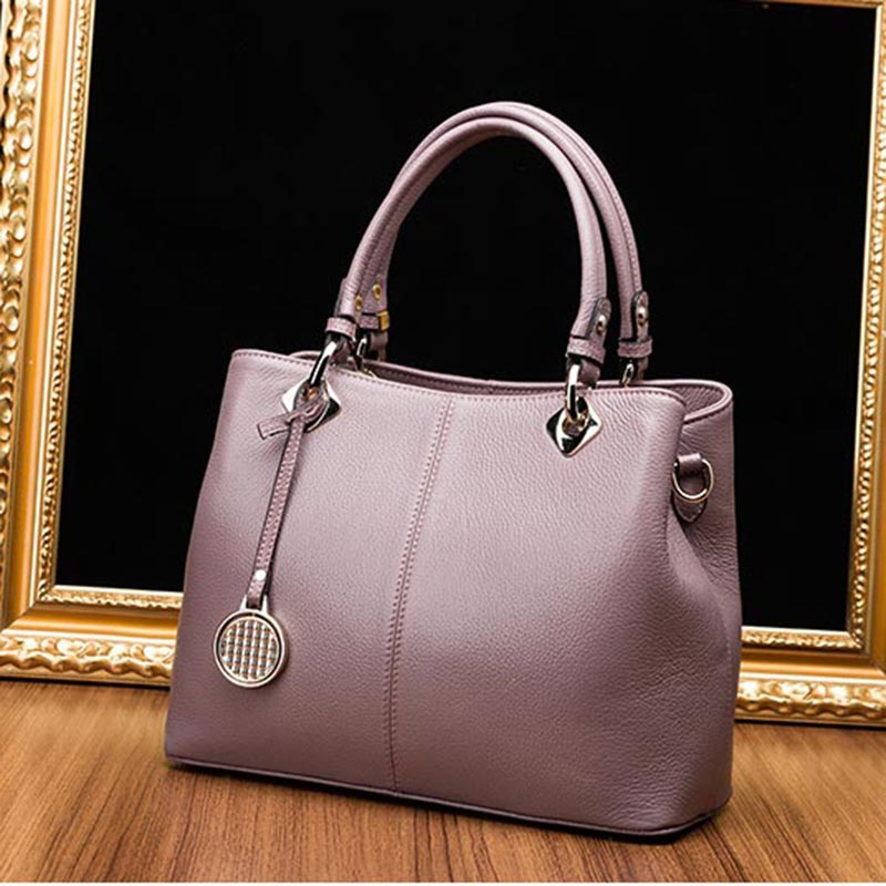 100% Genuine Leather 2017 brand genuine leather tote bag female fashion leather handbags women boston bag large shoulder bag 2017 100