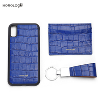 Horologii Personalised half wrapped case Italian cow crocodile pattern for iphone X XS 11 Pro leather case wedding gift