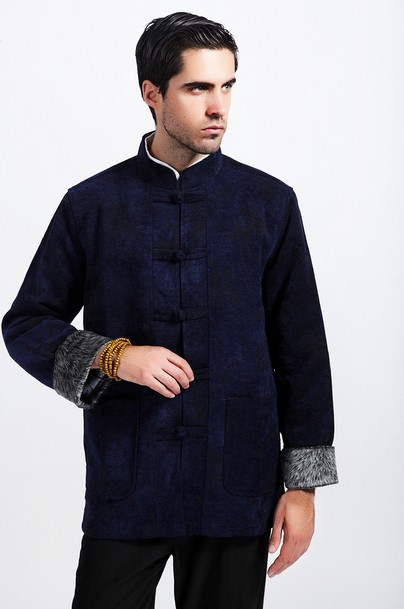 Winter Fashion Chinese Style Men's Navy blue Wool Kung Fu ...