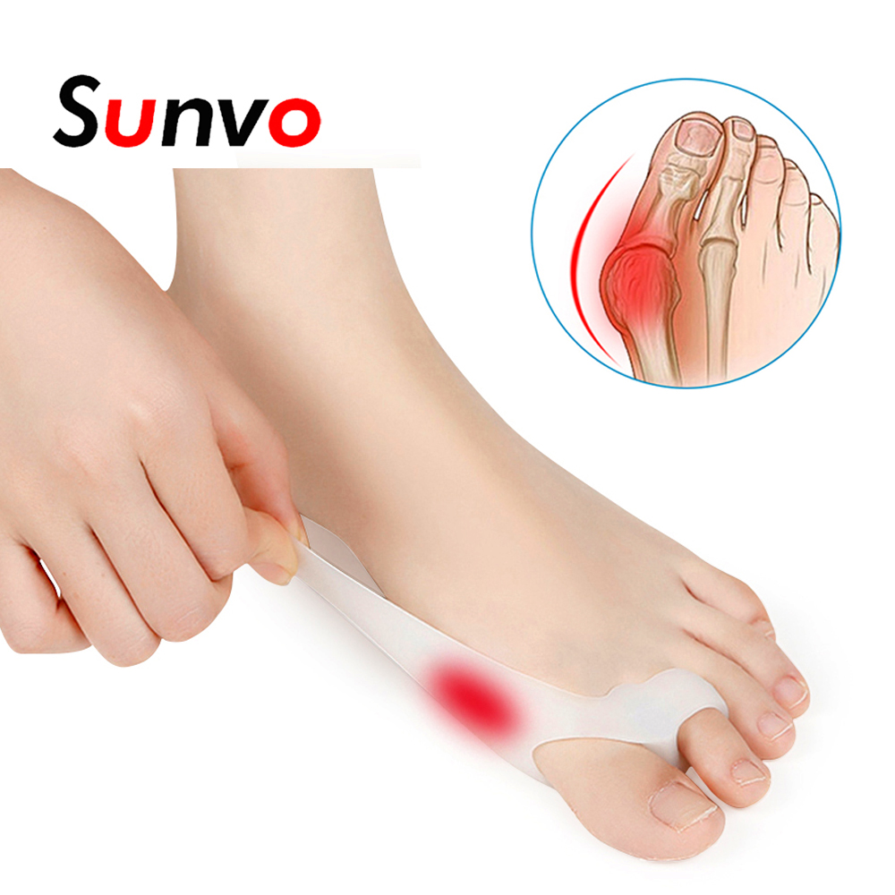 Sunvo 2Pcs Sinlicone Hallux Valgus Toe Separator Silicone Insoles Toe Overlapping Toe Align Appliance Finger Pain Relieve Insert