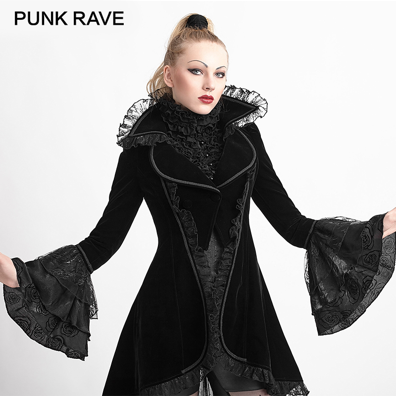 PUNK RAVE Autumn Winter Gothic Forked Tail Coat Steampunk Flare Sleeves Lace Jacket Lady Velvet Fabric Overcoats Women Halloween
