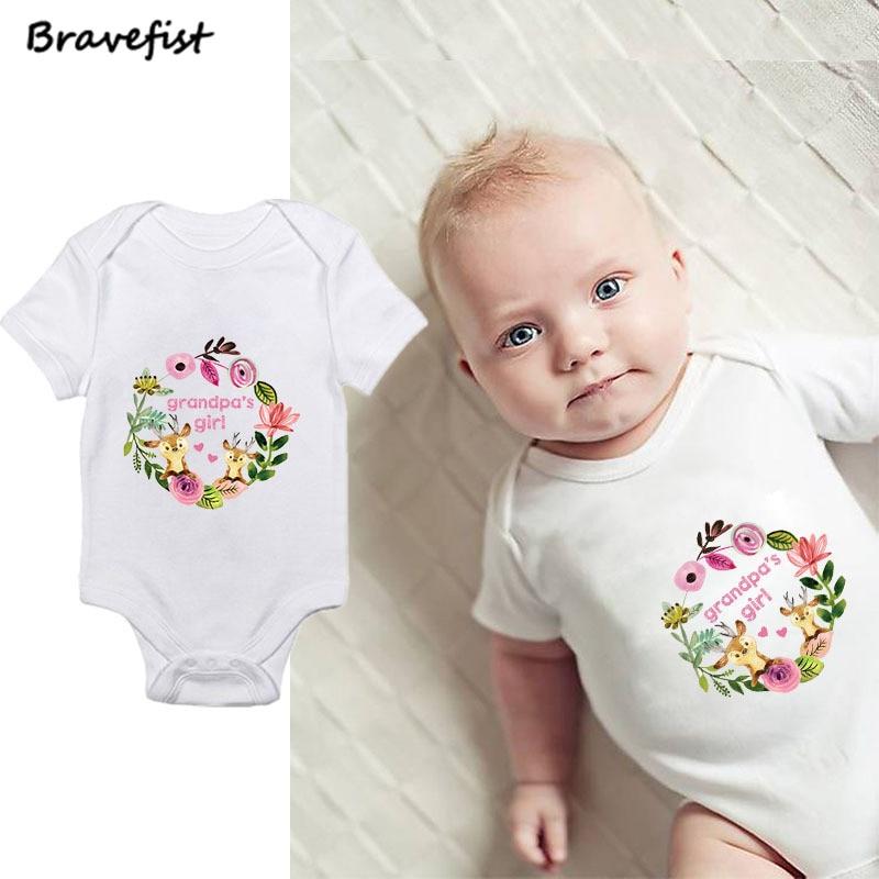 Хлопковая одежда для маленьких девочек новорожденных боди 0-2Years короткий рукав летние детские комбинезоны модные комбинезоны дедушки Деву...