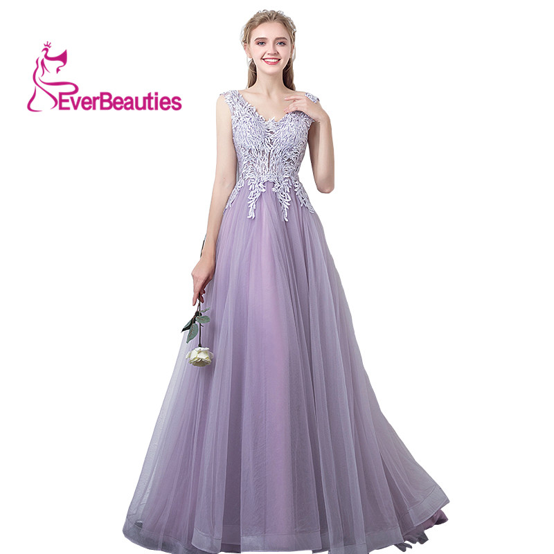 Evening     Dresses   Long Appliques Tulle Formal Prom   Dress   Elegant Gown   Evening   Party   Dress   Robe De Soiree Sleeveless