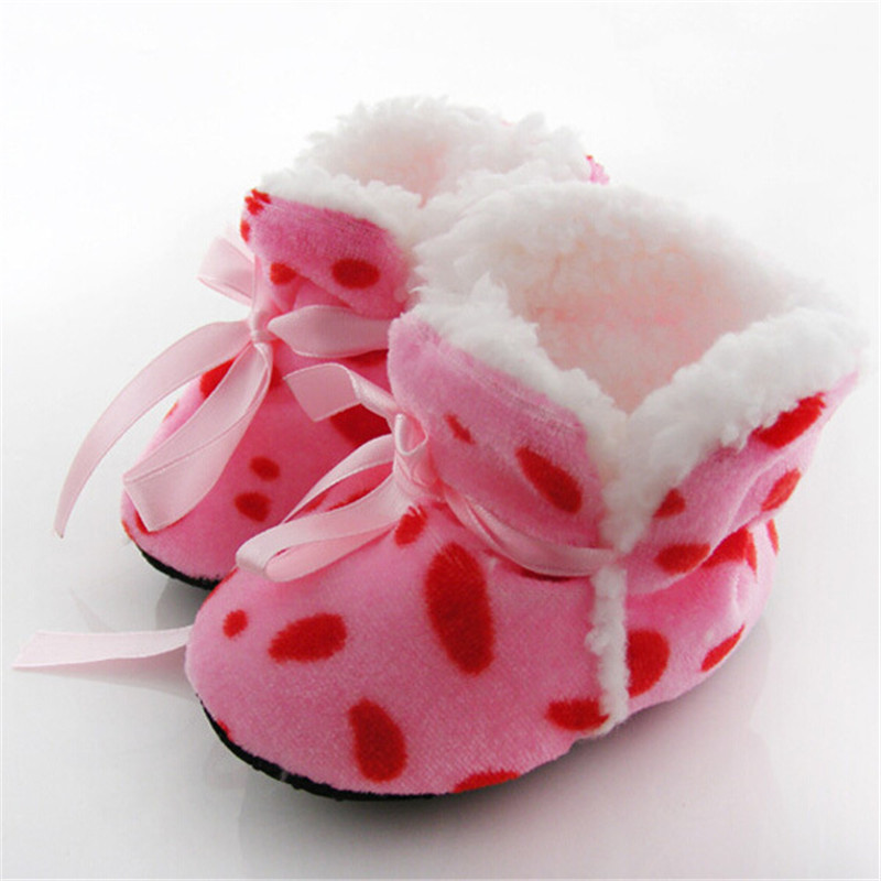 Leopard Zebra Toddler Kids Fleece Fur Boots Baby Shoes Winter Laced Ankle Socks