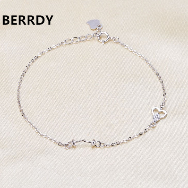 925 Silver Pearl Bracelet Chain Findings Fashion Charm Bracelet Chain Settings Jewelry Parts Fittings Charm Accessories
