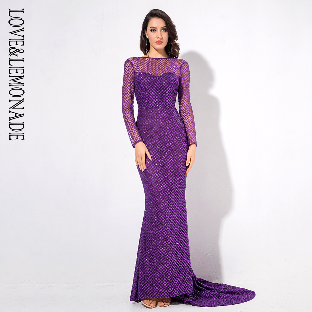 Love Lemonade Purple Long Sleeves Open Back Lattice Beads Long Dress LM1076