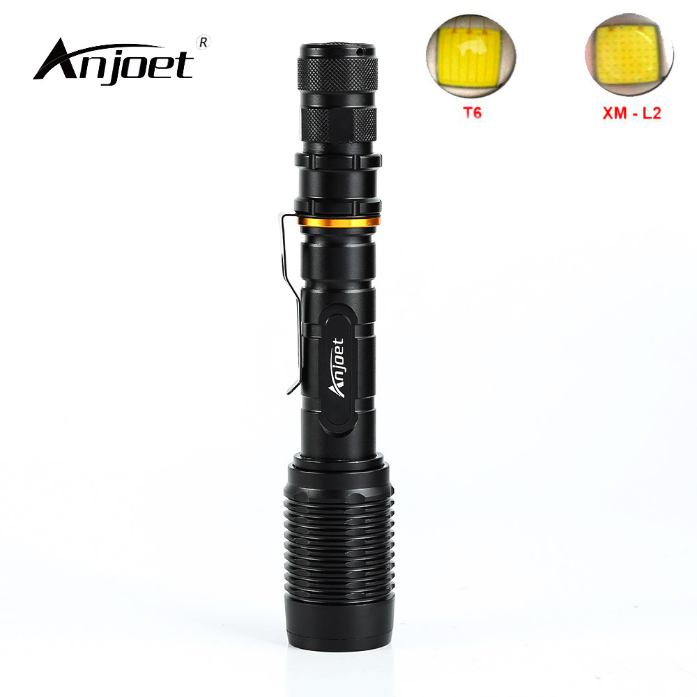 ANJOET 6000LM Zoomable XM-L2 XML-T6 LED Flashlight Torch Lighting 5 Mode Tactical Flashlight Hunting Camping Lights 2pcs lot 5 mode 1mode constant current 2800ma dc 12v xml t6 led driver for cree xml xm l2 lightingtransformers 5 mode