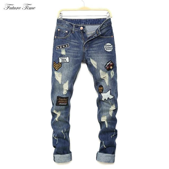 e983646da9a9 Jeans Men 2018 Slim Skinny Jeans Brand Biker Ripped Jeans For Men Straight  Trousers Classic Denim Pants Vintage Patchwork C1484