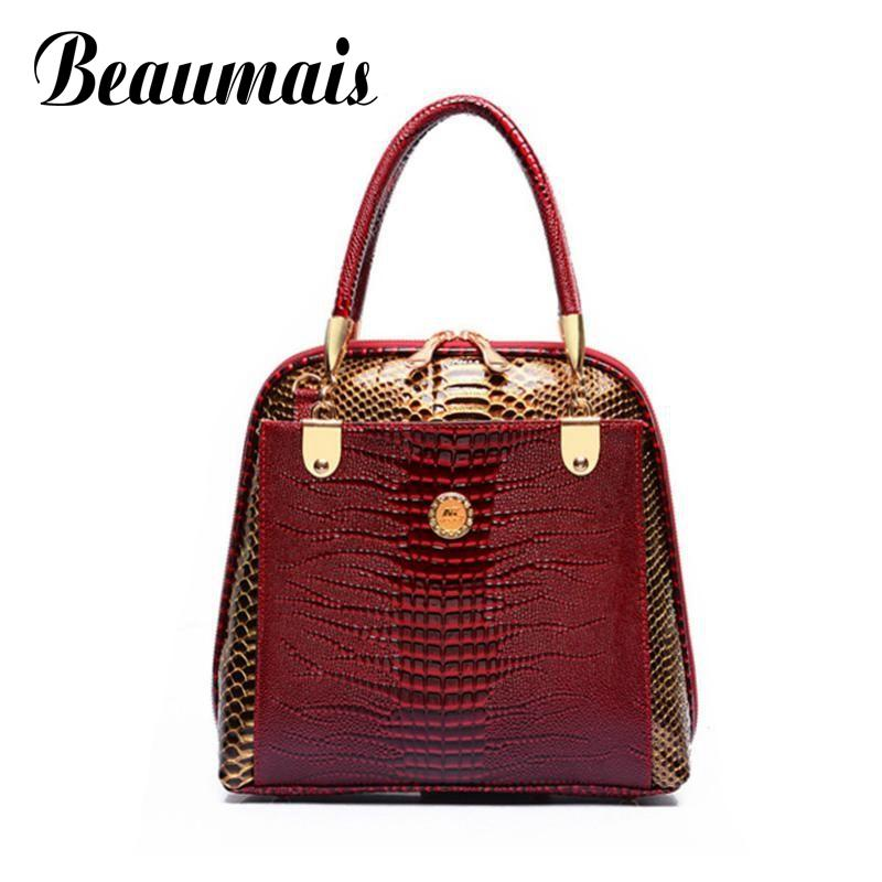 Beaumais Brand Fashion Women's Shell Bag Top-Handle Bags Women Handbags Crocodile PU Leather Ladies Messenger Bags Tote WB010 vitesse vs 8301