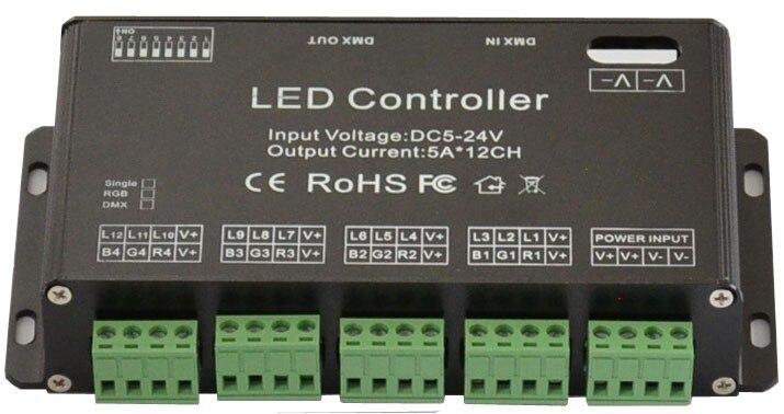 ФОТО 10pcs 12CH DC5V-24V RGB DMX 512 Decoder led controller, LED Rgb Constant Decoder& Driver for LED Strip Module Lamp 12Channel 5A