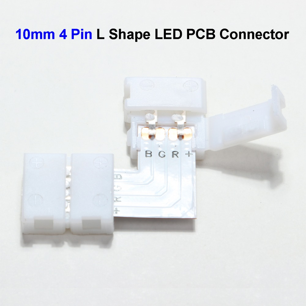 10mm 4 Pin L Shape 5050 LED Strip PCB Connector Adapter For SMD 5050 3528 RGB LED Strip No Soldering 50pcs 3528 led strip connector clip 8mm 2 pin mark polarity no soldering pcb connector clip free shipping