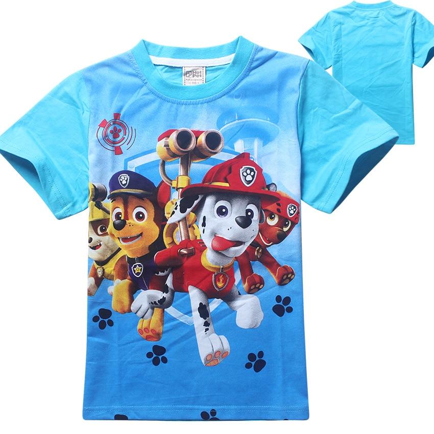 Meninos de Verão Cães Dos Desenhos Animados T Shirt Tops T Crianças Roupas Bebés Meninos Camisetas Meninas T Camisa Enfant Fille