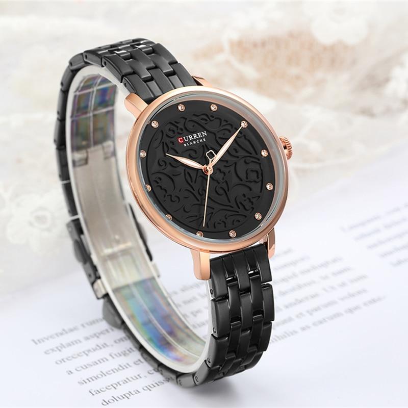 Stainless Steel Top Luxury Brand Black Women Watch Casual Fashion Ladies Clock Slim Waterproof Pink Female Wristwatch CURREN