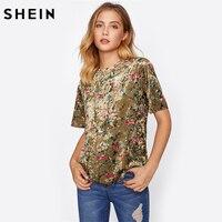 SHEIN Botanical Crushed Velvet Top Casual Boho T Shirts Women 2017 Summer Tops Coffee Short Sleeve