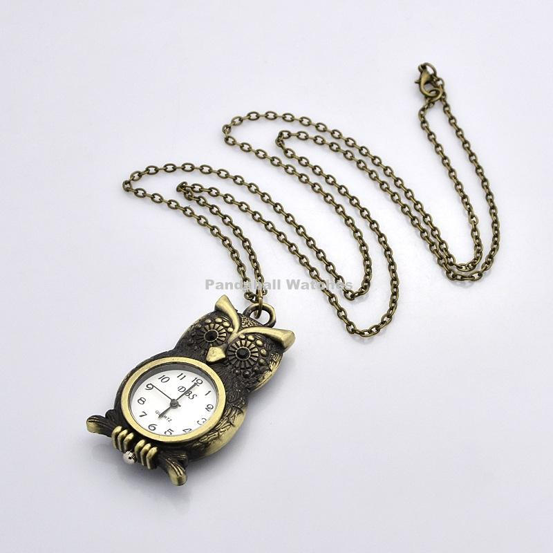 Vintage Alloy Vivid Owl Pendant Necklace Quartz Pocket Watches, with Iron Cross Chain and Lobster Clasps, Antique Bronze, 30.7 wood bullet alloy pendant necklace