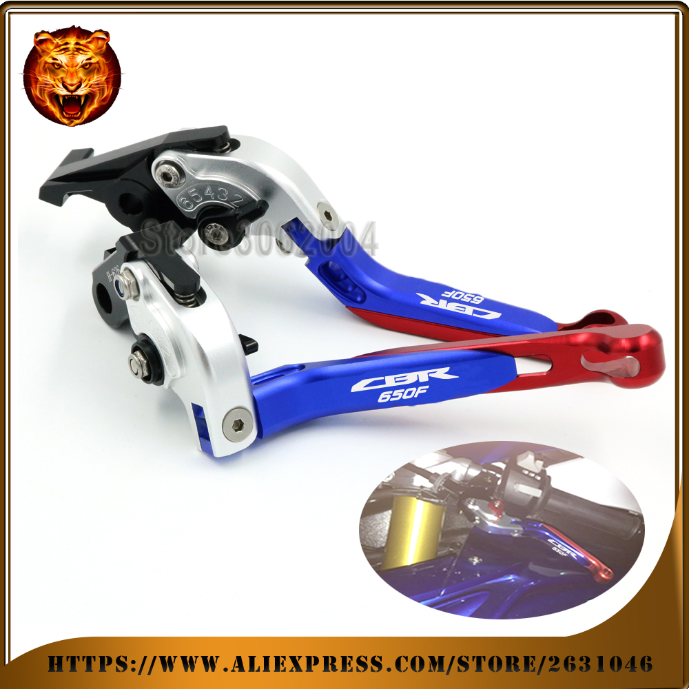 Motorcycle  Adjustable Folding Extendable Brake Clutch Lever For HONDA CBR650F CBR650 2014 2015 2016 2017 Silver+red  CNC racing cnc motorcycle adjustable folding extendable brake clutch lever for yamaha xt1200z ze super tenere 2010 2016 2012 2013 2014 2015