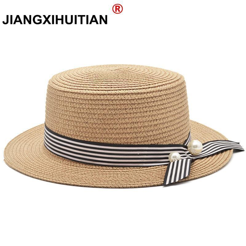 2018 New Summer Women Girls Beach Hat Female Casual Panama Hat Lady Brand Classic Bowknot Straw Flat Sun Hat Women Fedora