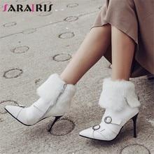 199b5dbc53612d SARAIRIS grande taille 32-43 nouvelle mode Ceinture Boucle Bout Pointu Zip  chaussures pour femme