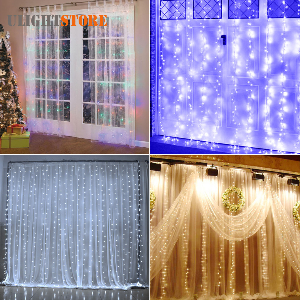 110V 9.8ft x 9.8ft 304 LED Fairy Curtain String Lights with 8 Lighting Modes for Wedding Party Outdoor Garden Decoration Lamp