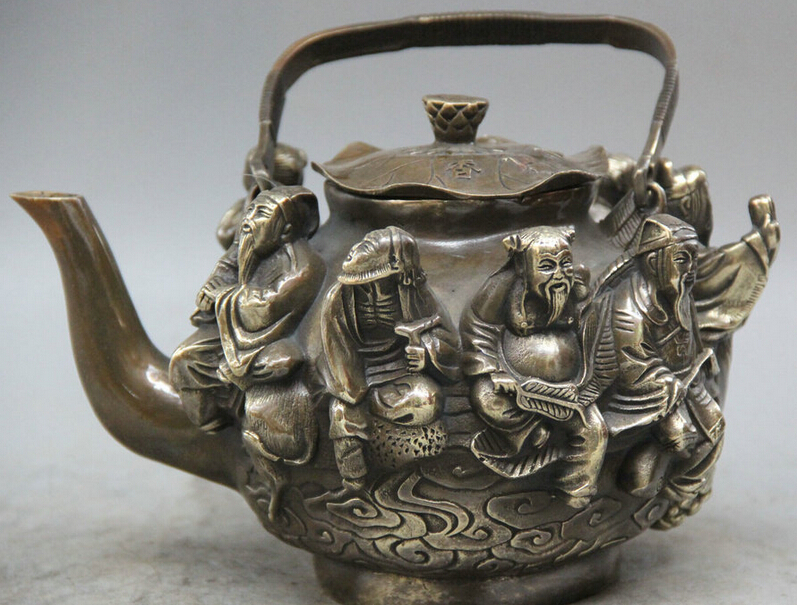 "8"" Marked China Qian Long Dynasty Copper Eight Immortals God Wine Tea Pot Flagon R0710"
