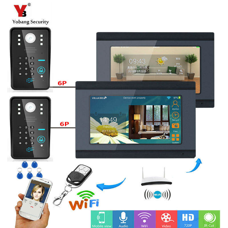 Yobang Security 2*7inch Wired / Wifi RFID Password Video Door Phone Doorbell Intercom Entry System with 2 X IR Wired Camera smartyiba 7inch 7inch wired wireless wifi rfid password video door phone doorbell intercom with ir cut 1000tvl camera