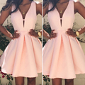Sexy Short Pink/Blush Homecoming Dresses Satin Deep V Neck Simple Short Homecoming Dress 2016 Elegant Graduation Dresses HC32