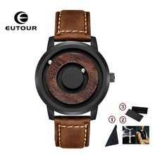 EUTOUR Magnetic Ball Show Watch Men Canvas Leather Strap Mens Wristwatch Fashion Bracelet Waterproof Quartz Male Clock