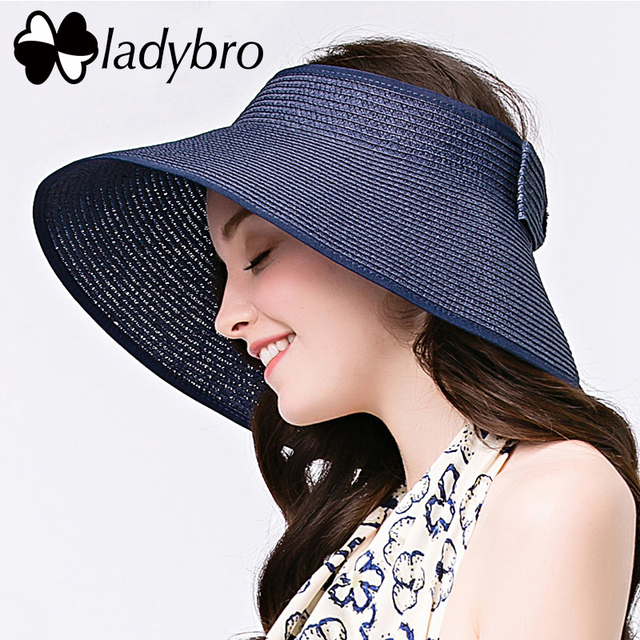 35b934562e795a Ladybro Summer Hat For Women Straw Hat Foldable Female Wide Brim Sun Hat  Beach Lady Chapeu