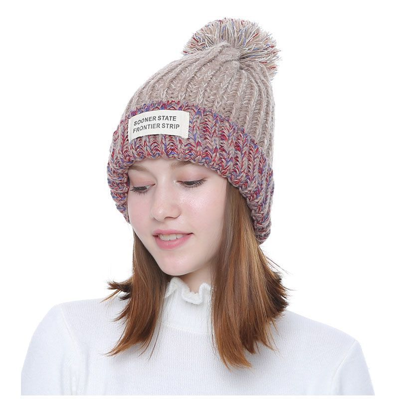 18537dbeac2 Knitted Women Beanies With Pompon Winter Female Beanie Casual Hats ...