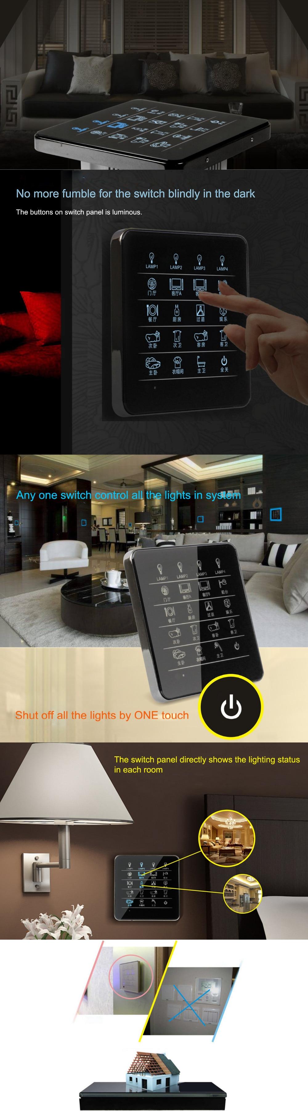 Королевский Умный домашний переключатель Сенсорный настенный переключатель дистанционного управления 60 способов лампы в 15 комнатах, с роскошным дизайном рамы из цинкового сплава