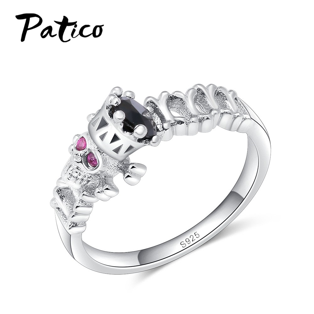 PATICO 925 Sterling Silver Skull Finger Rings Men Top Quality Factory Price Women Punk Skeleton Jewelry Party Gifts Size 6-10