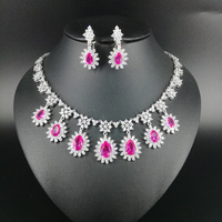 New fashion luxury romantic pink water drop zircon necklace earring set,wedding bride banquet formal jewelry set free shipping!