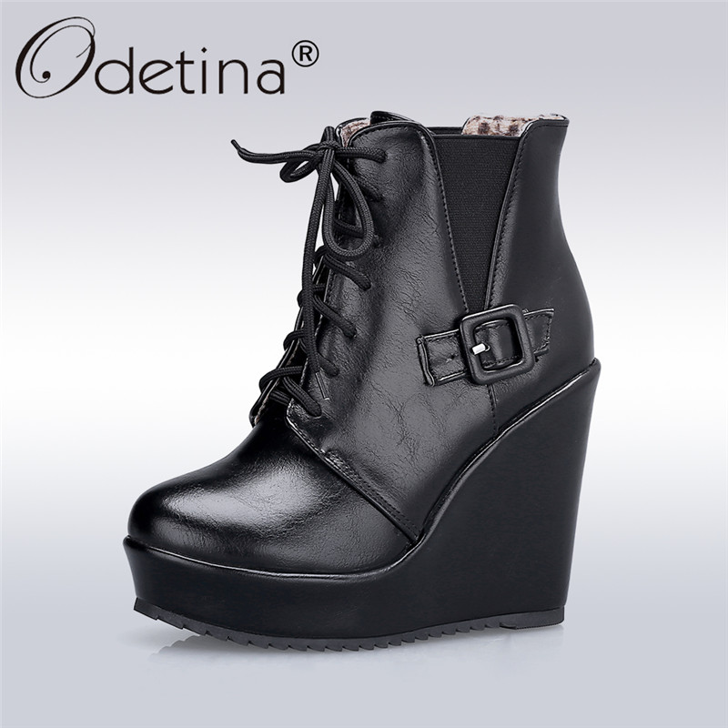 Odetina 2017 New Fashion Black Platform Wedge Ankle Boots High Heels Buckle Lace Up Womens Winter Warm Boots Shoes Plus Size 43 odetina 2017 new fashion genuine leather women platform flat ankle boots lace up casual booties autumn winter shoes big size 43